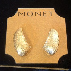 Monet Gold Tone Crystal Hoop Pierced Earrings